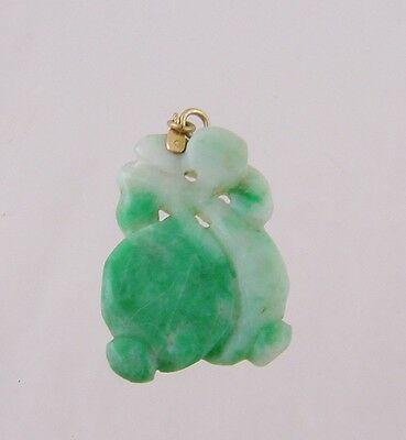 VINTAGE CARVED GREEN JADE with GOLD BAIL PENDANT
