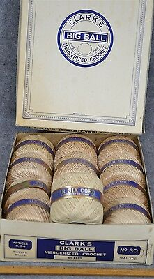 crochet thread floss sewing Clark's Big Ball box 12 old new vintage origianl