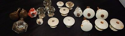 Lot of assorted drawer knobs cabinet pulls glass porcelain