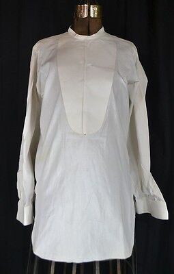 collarless shirt men's dress bib front french cuffs white  antique original 1800