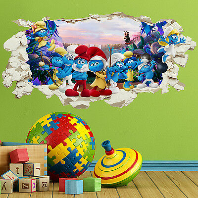 The Smurfs Wall Crack Smashed Kids Boys Girls Bedroom Vinyl Decal Sticker Gift