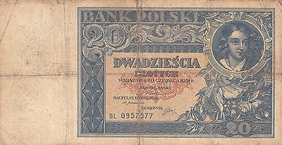 20 Zlotych Vg Banknote From Poland 1931!pick-73