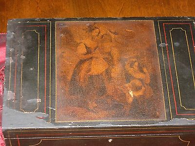 Antique 1890 Jewelry Box W Victorian Painting On Front & Secret Compartment Draw