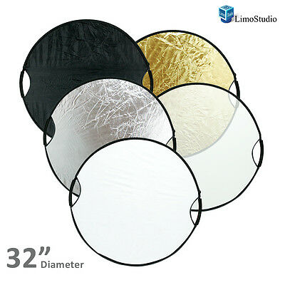 "Photo Studio 32"" New Handheld 5-in-1 Collapsible Lighting Reflector Board Disc"