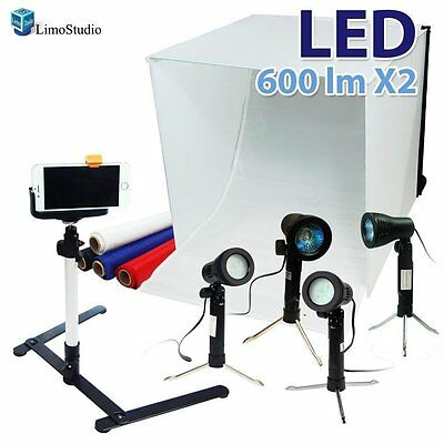 "24"" Folding Photo Box Tent LED Light Table Top Photography Studio Kit"