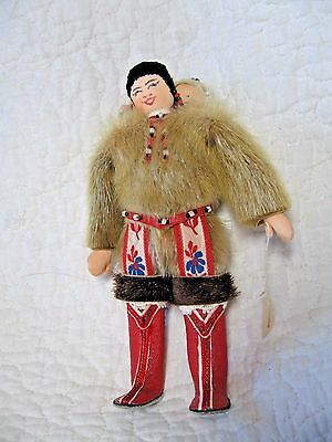 "Vintage Greenland Eskimo Inuit Doll, Mother and Baby, 6"" tall, native costume"