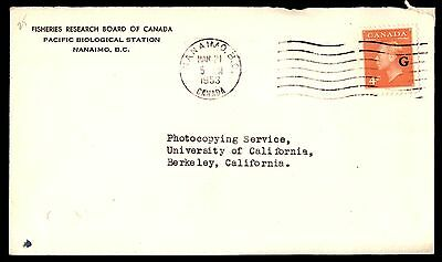 Canada Pacific Biological Statoin 1953 Fisheries Research Official Cover