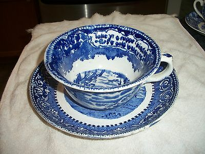 """Flow Blue Transferware England Oversized Cup & Saucer """"Cuppe of Kindness"""""""