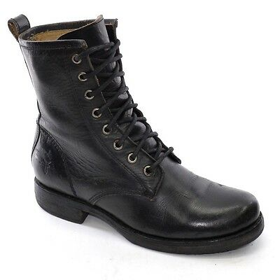 FRYE Veronica Combat $278 size 6 M Lace Up BOOTS Black Distressed Leather FLAT
