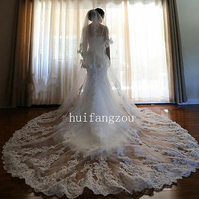 Ivory Long Wedding Veils 2 Tiers Appliques With Comb Bridal Veil In Stock New