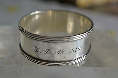 Antique 1915 Sterling Silver Napkin Ring Monogrammed E.D.M 16.2 grams