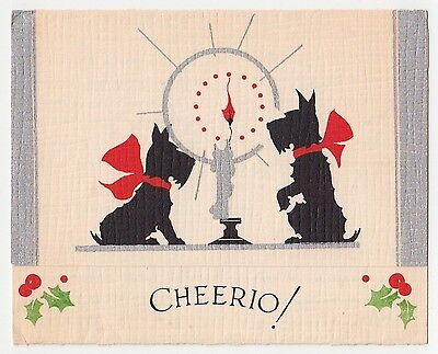 Vintage Greeting Card Christmas Scotty Dog Scottish Terrier Candle Cheerio!