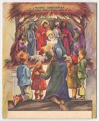 UNUSED Vintage Greeting Card Christmas Family Children Viewing Nativity 3D