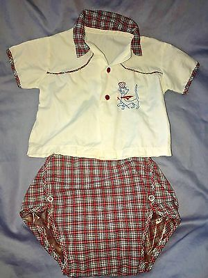 Vintage Baby Boy Set ~ Embroidered Shirt & Plaid Plastic Lined Diaper Cover