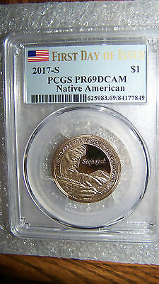 2017 S Sacagawea Sequoyah $1 PCGS PR69DCAM First Day of Issue Flag Label