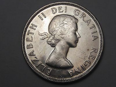 1954 Silver Canadian Dollar (Full Water Lines). CANADA.  #44