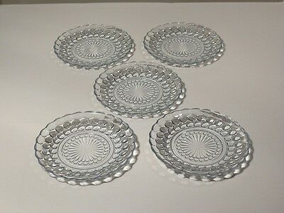 "5 Anchor Hocking Blue Bubble 6 5/8"" Bread And Butter Plates Nice"