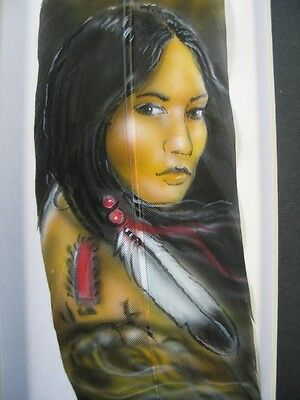 Native American Indian Lady - Tan Russ Abbott Hand Painted Feather COMMISSIONED
