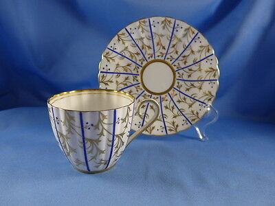 Vintage Royal Chelsea Tea Cup and Saucer, Flutted Gold Design with Cobalt Blue