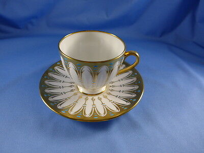 Vintage Royal Chelsea Tea Cup and Saucer, heavy Gold Design withTurquoise dots