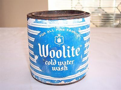 Vintage Woolite Cold Water Wash Detergent Round Tin Can Collectible Decor Full