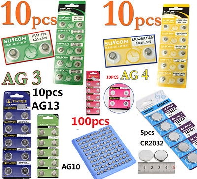 100pcs AG4 AG3 AG10 AG13 CR2016 CR2032 3V Watch Button coin Cell Battery 1.55V