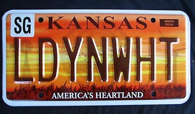 """Kansas  Gorgeous Graphic Vanity License Plate """" Ldynwht """" Lady In White"""