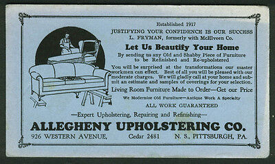 Allegheny Upholstering Pittsburgh PA advertising blotter ca 1920s