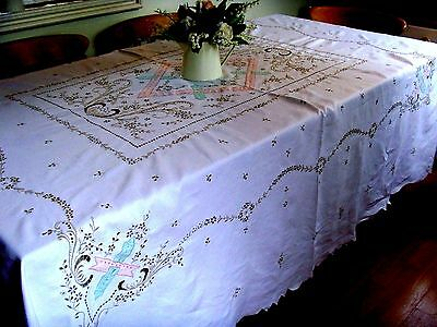 """EXQUISITE LARGE HAND EMBROIDERED FLORAL LINEN MADEIRA LACE TABLECLOTH 94"""" x 80"""""""