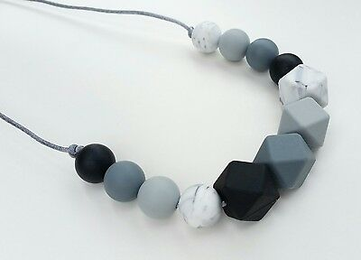Silicone teething beads necklace baby sensory jewellery teether ivy monochrome