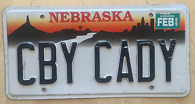 "Nebraska  Vanity License Plate "" Cby Cady "" Cowboy  Cadillac Caddy Escalade"