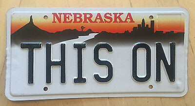 "Nebraska  Vanity License Plate "" This On ""  Off"