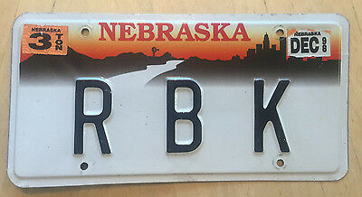 "Nebraska  Vanity License Plate "" R B K "" Ray Robert Rich Kelly King Kennedy Kerr"