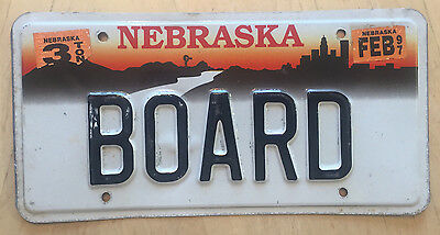 "Nebraska  Vanity License Plate "" Board "" Lumber Wood Of Directors"
