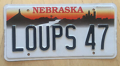 "Nebraska  Vanity License Plate "" Loups 47 ""  Loops 1947"