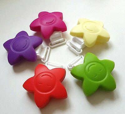 5x Silicone dummy clips star teether nibbling chew make your own bead clip