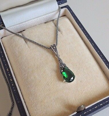 Sterling Silver Emerald and Marcasite Pendant Necklace