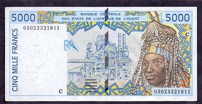 5000 Francs From West African States Letter C Unc