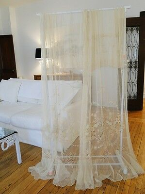 CIRCA 1920-1930's, TAMBOUR LACE CURTAINS W/FLOWERS