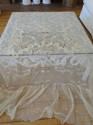 CIRCA 1900's, ORNATE LACE BEDSPREAD WITH FLOWERS