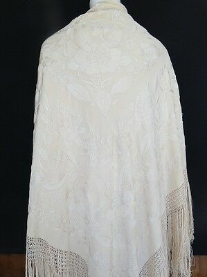 Circa 1900, Antique Cream Silk Canton Shawl  W/fine Embroidery