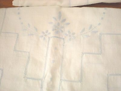 Vintage Duo Linen Table Runners Embroidered & Pierced White & Blue Great Shape!