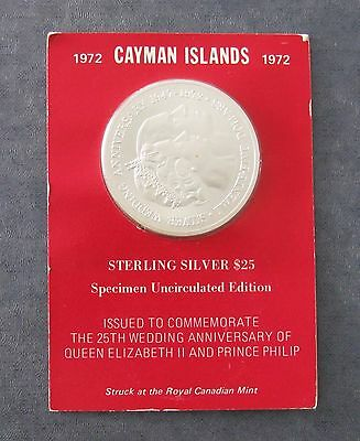 1972 Cayman Islands $25 Silver Coin - 1.51 ASW - 45mm dia. - KM#9 - No Reserve