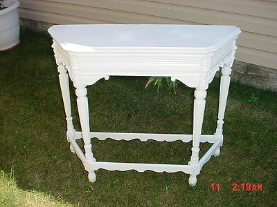 Antique Victorian Vintage Carved Side Table Shabby Chic Wood  Stand