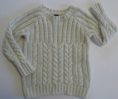 Baby Gap Toddler Boys Size 3 Years Ivory Crew Neck Cable Knit Sweater