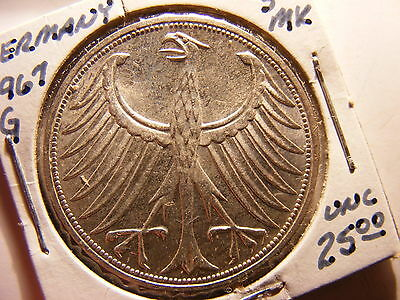 Germany - Federal Republic Silver 5 Mark, 1967-G, Choice Uncirculated