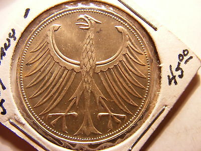 Germany - Federal Republic Silver 5 Mark, 1951-J, Choice Uncirculated - Beauty !