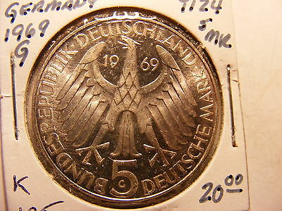 Germany 1969-G Silver 5 Marks, Uncirculated, KM#125