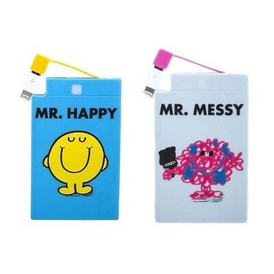 Officially Licensed Mr. Men 2500mAh Powerbank - Choose mr. Happy or Mr. Messy