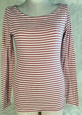 Banana Republic Womens Small Shirt Striped Red White Long Sleeve W1